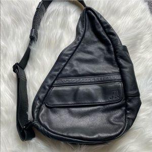 AMERIBAG Leather Black Ergopad Sling Backpack Bag